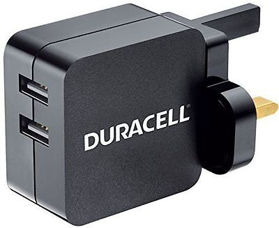 Duracell 4.8 A Dual USB Mains Charger for Smartphones and Tablets with Micro USB
