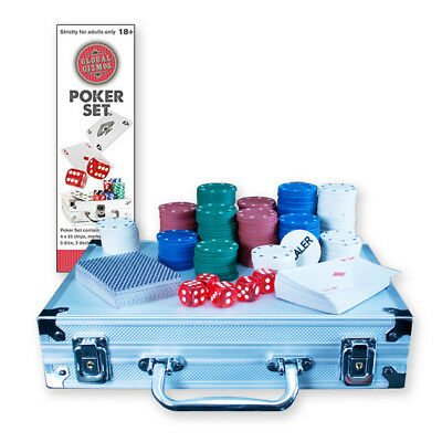 200 piece Complete Texas Poker Set Chips Playing Cards Dice Aluminium Carry Case