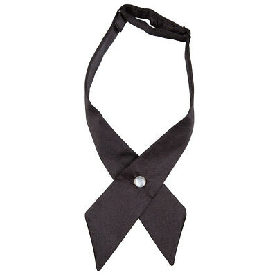 New Dqt Plain Black Crossover Bow Tie - Unisex