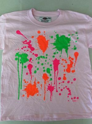 Pink kids t shirt with Paint Splatters design. Age 7-8 years
