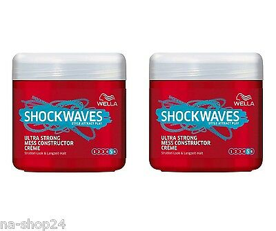 (35,97€/L) 2x 150 ml WELLA SHOCKWAVES Ultra Strong Mess Constructor Creme cream