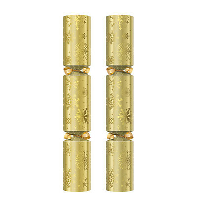 "12"" Gold Snowflakes Christmas Crackers Box of 50 - Luxury Content"