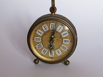 Magnificent Vintage Alarm Clock retro vintage Brass Gold colourd face germany