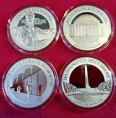 2015 Niue -  National Monument Series 4 Coin Set - Gem Proof in OGP -.999 Silver