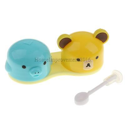 Travel Contact Lens Case Storage Holder Box with Adorable Piggy Bear Lid