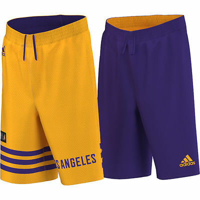 adidas NBA Los Angeles La Lakers Men's Reversible Mesh 2 in 1 Basketball Shorts