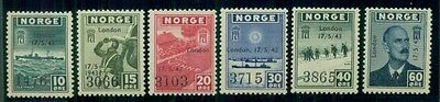 NORWAY #259-66v Complete London Ovpt set, og, NH, expert mark rev, Facit $1,550.