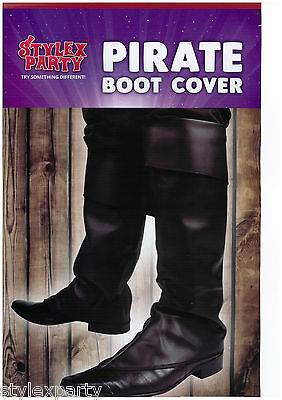 Deluxe Black Pirate Boot Covers Fancy Dress Accessory Pirate Adult One Size