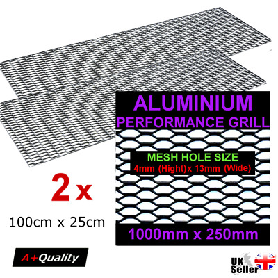2 x Black Aluminium Racing Grille Net Vent Race Car Tuning 25x100cm Mesh 4x13mm