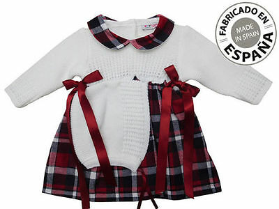 Baby Girls Spanish Knit Mix Tartan Dress And Bonnet Or Without Bonnet