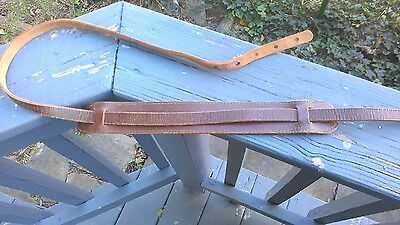Vintage 1960s Skinny Leather Guitar Strap with Shoulder Pad.