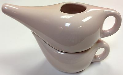 Nature's Pur Element Double Decker Neti Pot and Salt Inhaler, Ceramic (Rose)