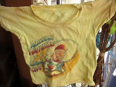 XS 4 Vtg 70s Boys/GIRLS CLASSIC ALASKA SOUVENIR YELLOW THIN T-SHIRT USA