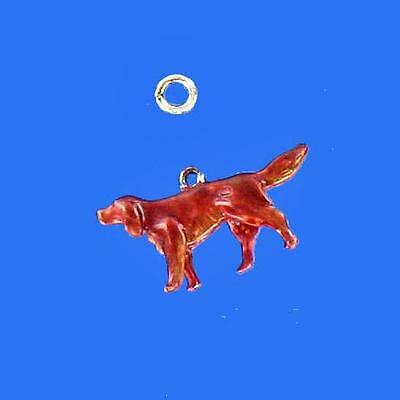 Sterling Silver IRISH SETTER charm, Hand Painted 3D