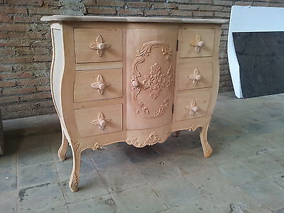 Ready to Paint RAW mahogany designer French rococo chest of drawers cup board