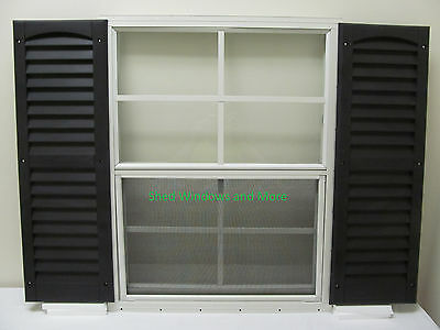 Shed Windows 24 x 27 White Flush + Shutters Storage shed Playhouse Garages Coops