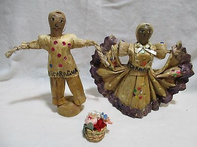 Lot of 9 Various Cultures Vintage Straw & Twine Souvenir Doll Figurines