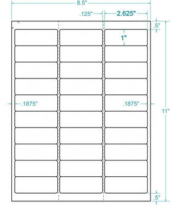 "Compulabel 310950 - 2-5/8"" x 1"" White Removable Address Labels. 3000 Labels"