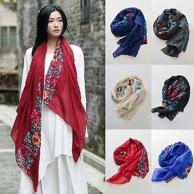 Women Winter Cotton Linen Long Scarf Wrap Floral Scarves Lady Large Shawl Gift