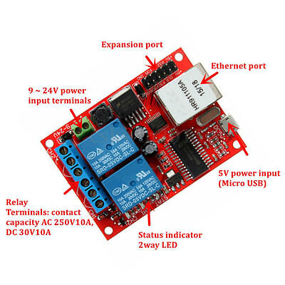 Relay Board 2 Way LAN Ethernet Network Delay Switch TCP UDP Controller Module