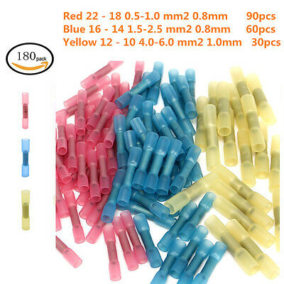 Electrical Crimp Ring Spade Connectors/  Insulated Wire Terminals Set 180p 22-10