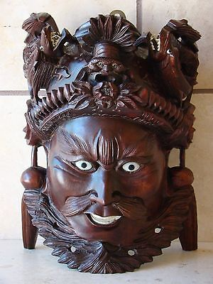 Vintage Hand Carved Wood Ornate Asian Chinese Emperor Rosewood Wall Decor Mask