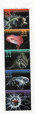 3439-3443 Deep Sea Creatures Strip Of 5 Mint/nh (Free Shipping)