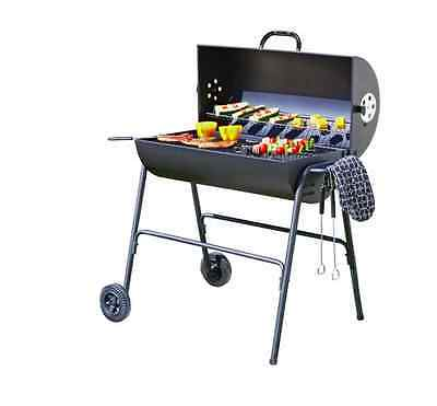 Oil Drum Charcoal BBQ Grill with Cover Outdoor Barbecue Camping Grill Garden NEW