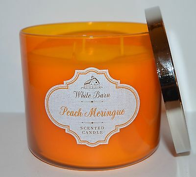 New Bath Body Works Peach Meringue Scented Candle 3 Wick 14.5Oz Large White Barn