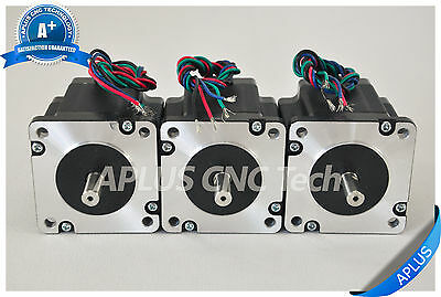3 PCS NEMA 24 Stepper Motor, 255oz-in 64mm 3.0A bipolar, NEMA 23 output flange
