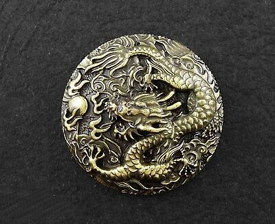 Biker Brass Conchos Chinese Dragon Leathercraft Wallet Belt Screw Back