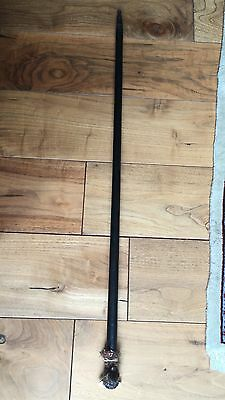 Antique 19th C Carved wood Glove Holder Cane Form French Bull Dog Walking Stick
