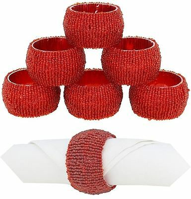 6 Red Beaded Napkin Rings Holder Table Party Decoration Serviette Wedding Xmas