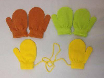Baby Boy Girls Kids Toddlers Plain Knitted Mitts Mittens Boys Girls 1 Size New