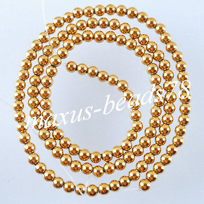 Gold Hematite Gemstones 3mm Round Loose Beads Spacer 15.5 inches Strand MG1011