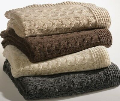 Cashmere And Wool Throw, Plaid With Knitted Plait Made In Italy Natural Colours