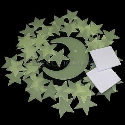50 Glow In The Dark Star and Moon Plastic Shapes for Ceiling Wall Bedroom