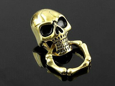 Solid Brass Skull Wallet Chain Connector O-Ring Clasp Biker Leathercraft UK-29