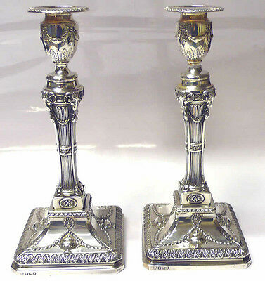 Victorian Silver Candlesticks 1894 Hawkesworth & Eyre stock id 7008