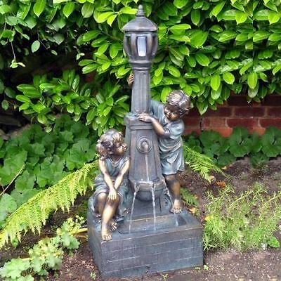 Boy and Girl Lamp Post Garden Water Feature Cascade Fountain NEXT DAY DELIVERY