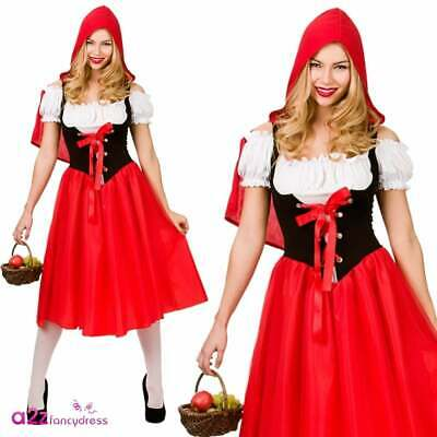 Womens Little Red Riding Hood Costume Adult Fairytale Fancy Dress UK Sizes 6-28