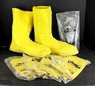"Condor 4T266 Hazmat Overboots Size Large Shoe Size 10 to 11 12"" Height 5 Pairs"