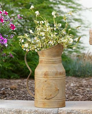 New FRENCH FARM RUSTY PROVINCIAL PITCHER Metal Milk Shabby Vintage Vase Chic