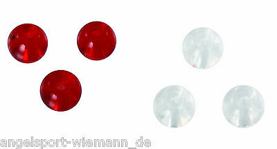 10 x Glasperlen 6mm Farben rot & klar für Texas Rig/Carolina Rig Glass Beads