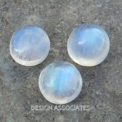 Natural White Moonstone 9 Mm Round Cut Calibrated Commercial 3 Pc Set