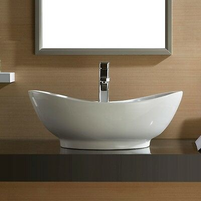 Oval Bathroom Vessel Sink Vanity Basin Pop Up Drain White ...