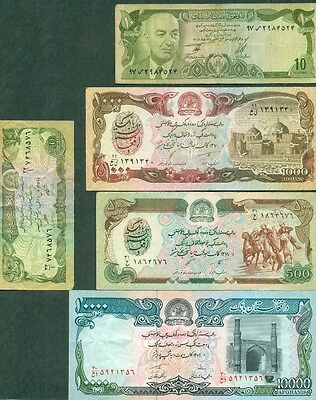 Afghanistan Currency, Group Of 5 Different Notes