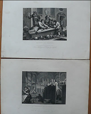 """2 x William Hogarth """"INDUSTRIE AND IDLENESS"""" Steel Engraving 1861 (X2023)"""