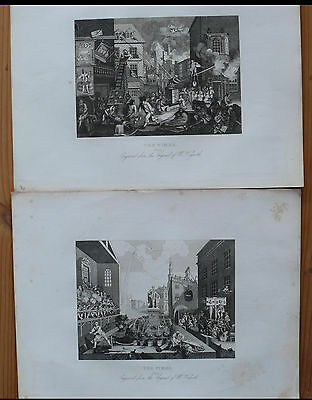 """2 x William Hogarth """"THE TIMES"""" Steel Engraving 1861 (X2028)"""