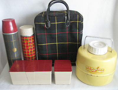 Vintage Picnic Set Plaid Thermos Set  Storage And Olympic Thermic Jug Free Ship